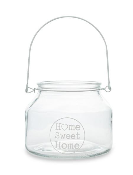 """Βάζο διακοσμητικό γυάλινο """"Home sweet home"""""""
