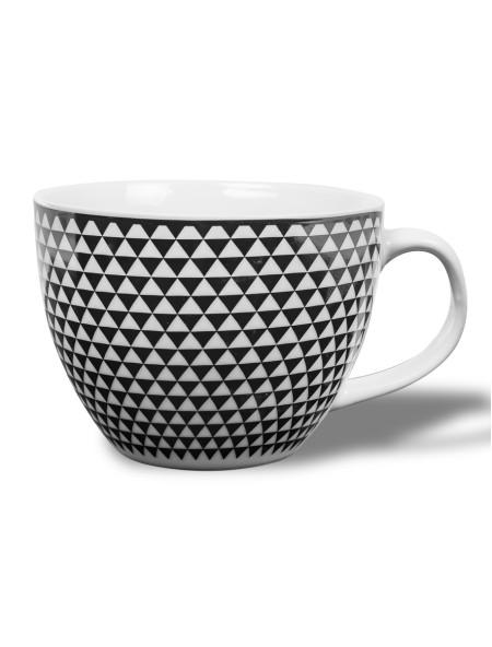 Κούπα κεραμική μεγάλη με ασπρόμαυρο σχέδιο τρίγωνο