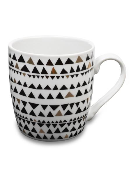 Κούπα κεραμική λευκή με μαύρα και χρυσά τρίγωνα