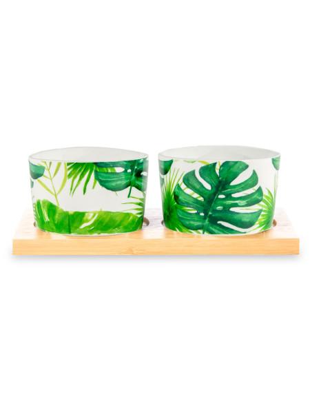 Μπολάκι κεραμικό και πιατέλα μπαμπού πράσινο ανοιχτό