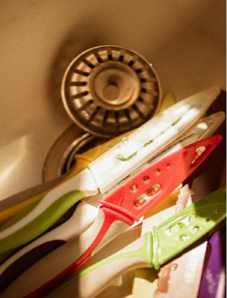 Μαχαίρι γενικής χρήσης με σχέδιο φράουλα και θήκη
