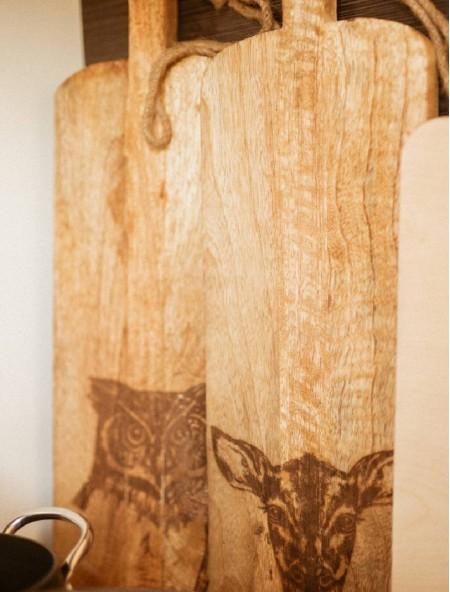 """Επιφάνεια κοπής ξύλινη ορθογώνια """"κουκουβάγια"""""""