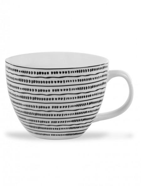 Κούπα κεραμική μεγάλη με ασπρόμαυρο σχέδιο κουκίδες