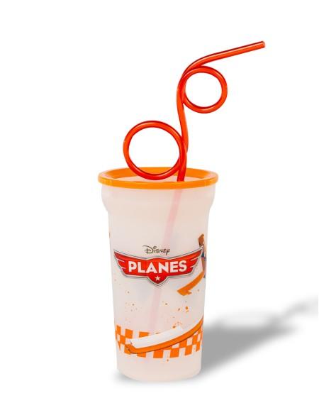 Ποτήρι Planes παιδικό πλαστικό με καλαμάκι