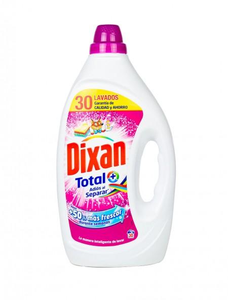 Dixan total υγρό απορρυπαντικό ρούχων για χρωματιστά 1.5L 30 μεζούρες