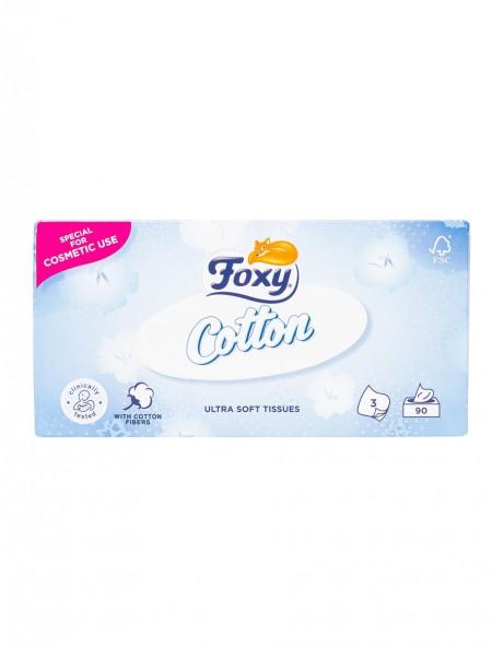 Foxy facial cotton χαρτομάντηλα 3Φ 90 τεμάχια