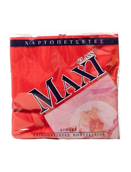 Maxi class χαρτοπετσέτες κόκκινες 33x33cm 80 τεμάχια