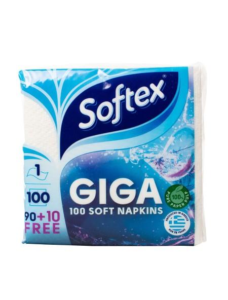 Softex giga χαρτοπετσέτες λευκές 30x30cm 100 τεμάχια