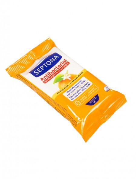 Septona πορτοκάλι αντιβακτηριακά υγρά μαντηλάκια 15 τεμάχια