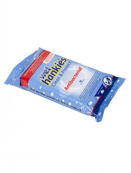 Wet Hankies αντιβακτηριακά υγρά μαντηλάκια 15 τεμάχια
