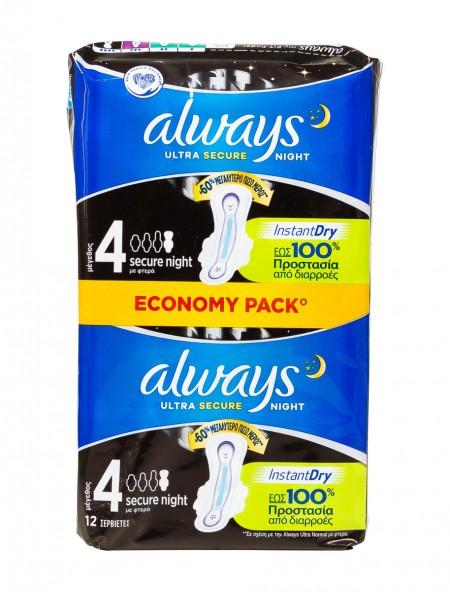 Always ultra secure night instant dry σερβιέτες 12 τεμάχια