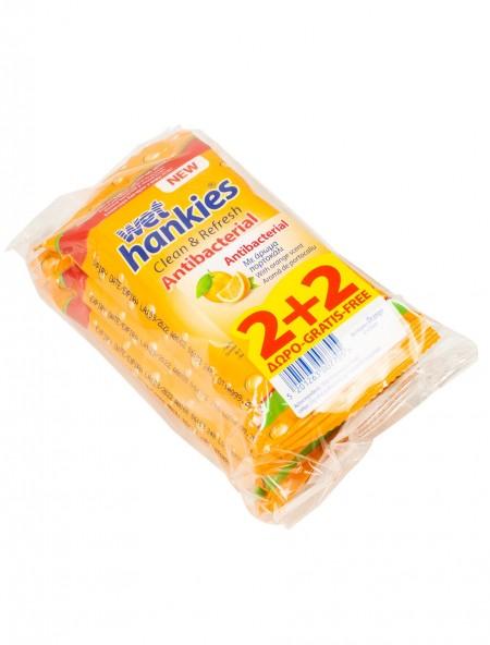 Wet Hankies orange αντιβακτηριακά υγρά μαντηλάκια 4x15 τεμάχια