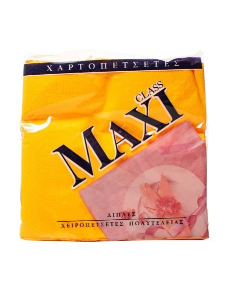Maxi class χαρτοπετσέτες πορτοκαλί 33x33cm 80 τεμάχια