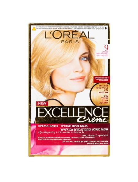 L'oreal Excellence N.9 ξανθό πολύ ανοιχτό βαφή μαλλιών