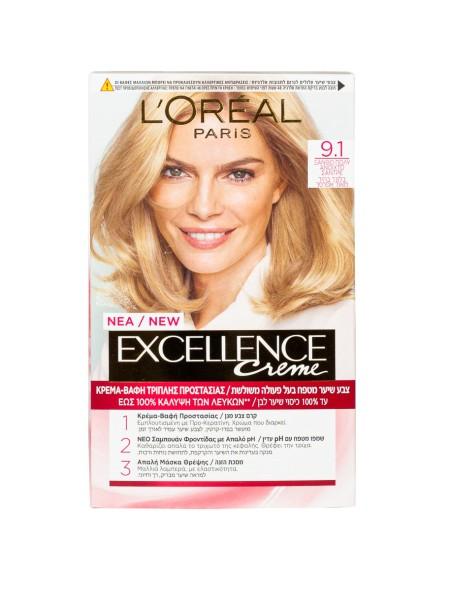 L'oreal Excellence N.9.1 ξανθό πολύ ανοιχτό σαντρέ βαφή μαλλιών