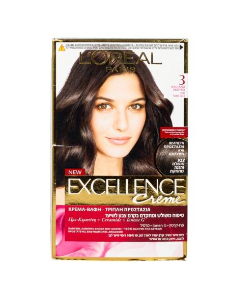 L'oreal Excellence N.3 καστανό σκούρο βαφή μαλλιών