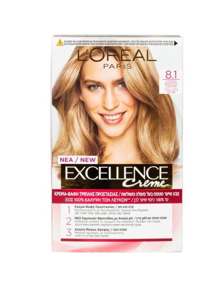 L'oreal Excellence N.8.1 ξανθό ανοιχτό σαντρέ βαφή μαλλιών