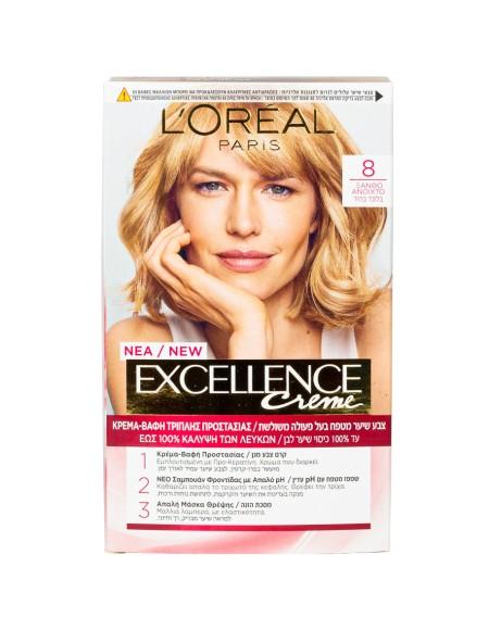 L'oreal Excellence N.8 ξανθό ανοιχτό βαφή μαλλιών