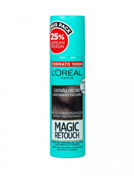 L'oreal magic retouch spray σκούρο καφέ βαφή μαλλιών 100ml