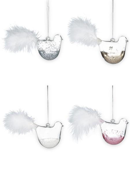 Χριστουγεννιάτικο στολίδι πουλάκι γυάλινο με glitter