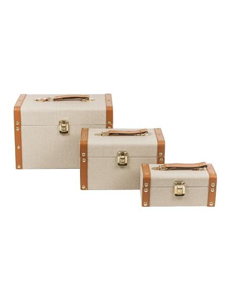 Διακοσμητικές βαλίτσες δερμάτινες σετ 3 τεμάχια