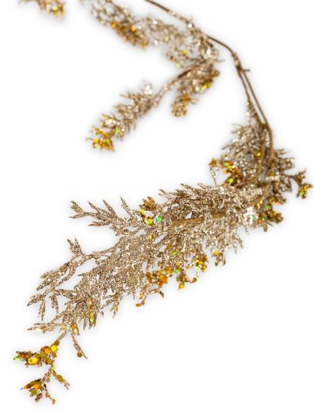 Διακοσμητικό κλαδί χρυσό με glitter και πούλιες