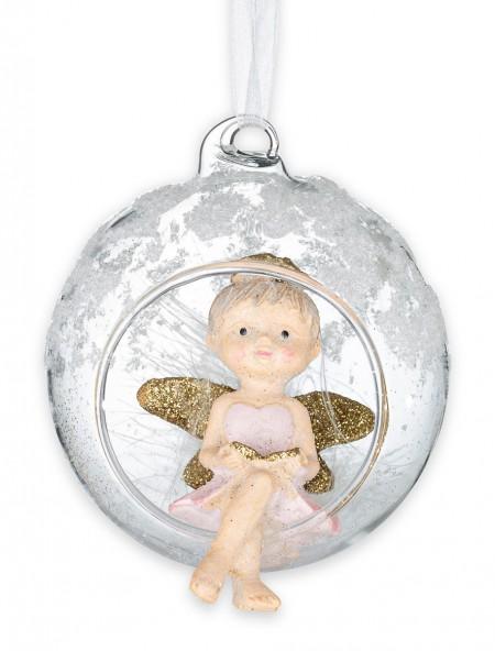 Χριστουγεννιάτικο στολίδι αγγελάκι σε μπάλα με βιβλίο