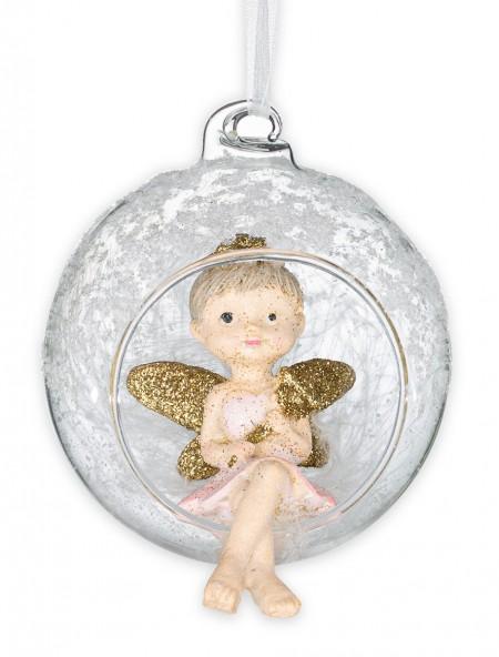 Χριστουγεννιάτικο στολίδι αγγελάκι σε μπάλα με ραβδί
