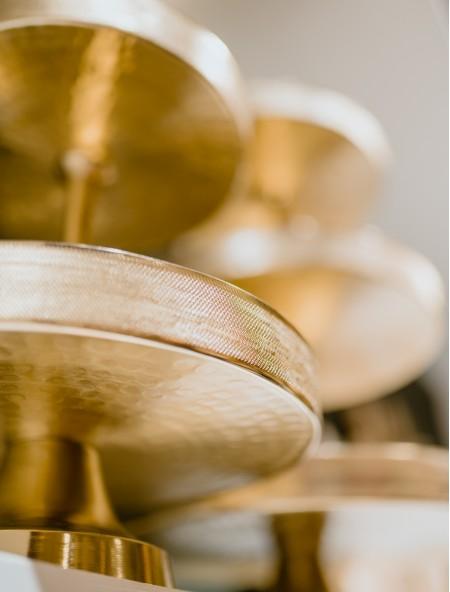 Ορντερβιέρα μεταλλική χρυσή με 3 επίπεδα