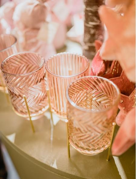 Ρεσό γυάλινο με ζιγκ ζαγκ ανοιχτό ροζ