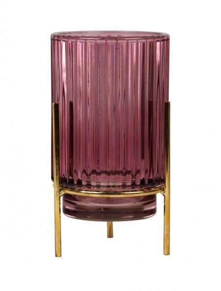 Ρεσό γυάλινο με ρίγες ροζ
