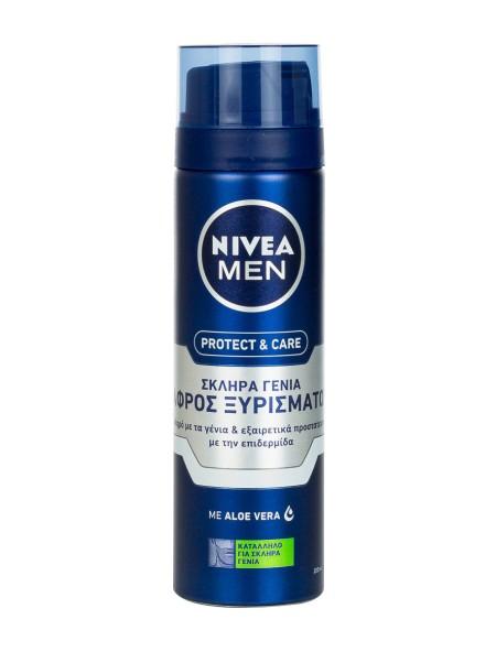 Nivea men protect and care αφρός ξυρίσματος για σκληρά γένια 200ml