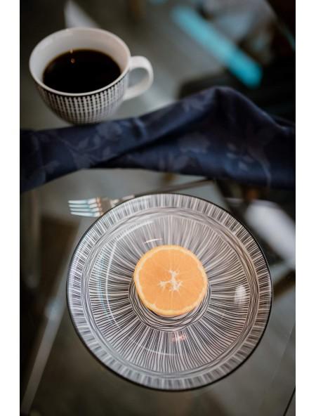 Πιάτο φαγητού πορσελάνης βαθύ με σχέδιο κύκλους και γραμμές
