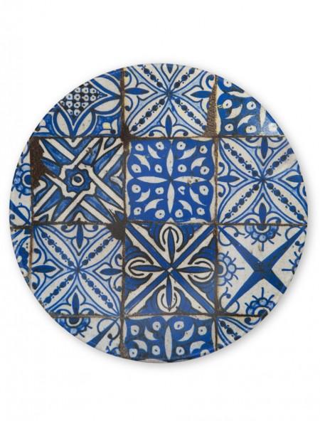 Πιάτο φαγητού πορσελάνης ρηχό με μπλε retro σχέδιο