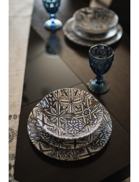 Πιάτο φαγητού πορσελάνης βαθύ με μπλε retro σχέδιο