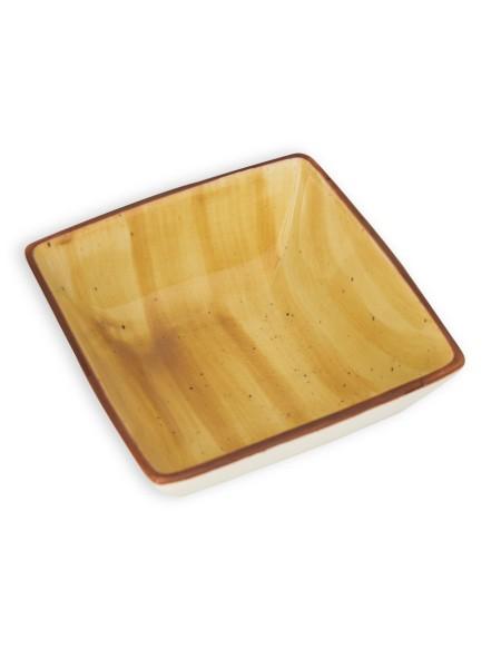 Μπολάκι πορσελάνης τετράγωνο με κίτρινο σχέδιο