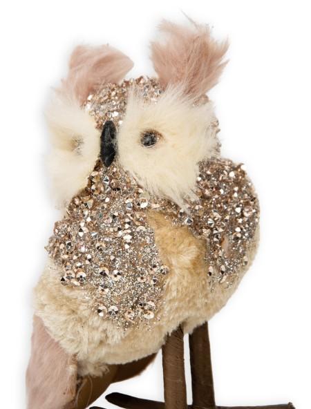 Διακοσμητική κουκουβάγια γούνινη με glitter