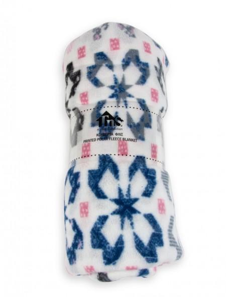 Κουβέρτα μονή fleece με μωσαϊκό σχέδιο