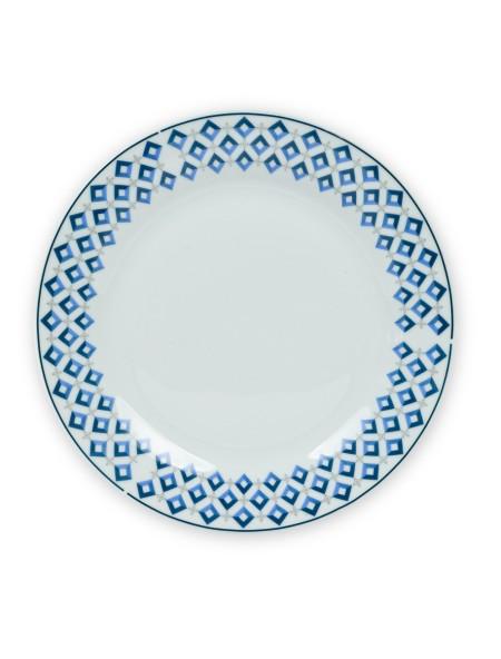 Πιάτο φρούτου πορσελάνης με μπλε μπορντούρα