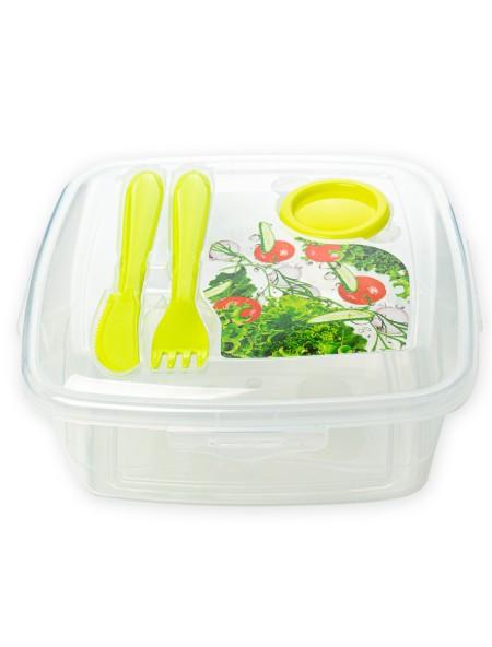 Φαγητοδοχείο πλαστικό τετράγωνο με clips