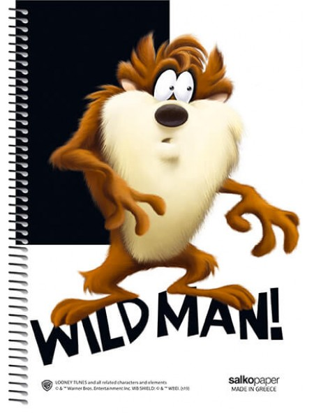 Τετράδιο σπιράλ 3 θεμάτων Looney Tunes Wild Man 21x29cm