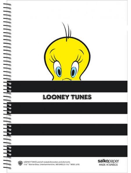 Τετράδιο σπιράλ 3 θεμάτων Looney Tunes Tweety 21x29cm