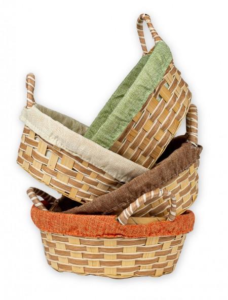 Καλάθι bamboo με υφασμάτινη επένδυση