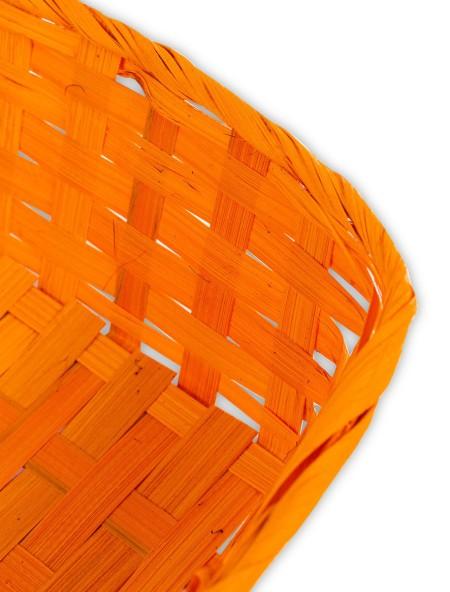Καλάθι ψάθινο τετράγωνο πορτοκαλί