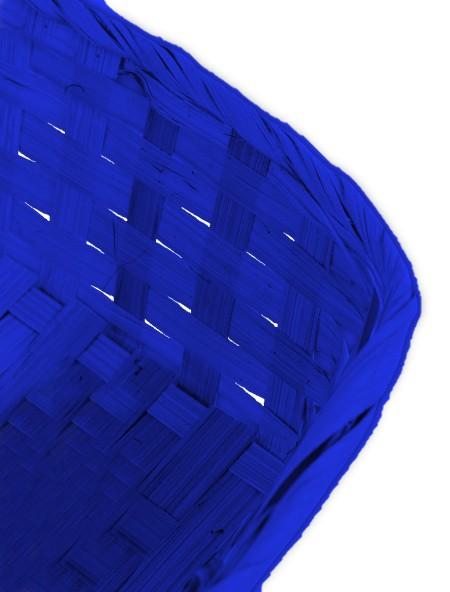 Καλάθι ψάθινο τετράγωνο μπλε