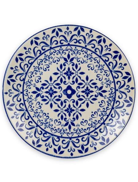 Πιάτο φρούτου πορσελάνης με μπλε retro σχέδιο