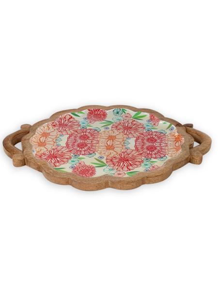 Δίσκος ξύλινος floral