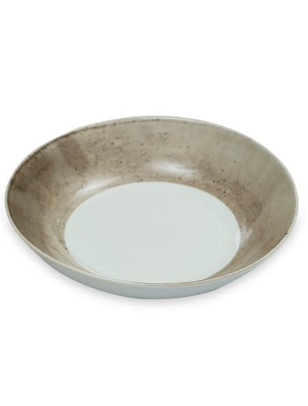Πιάτο βαθύ πορσλάνης με γκρι σχέδιο