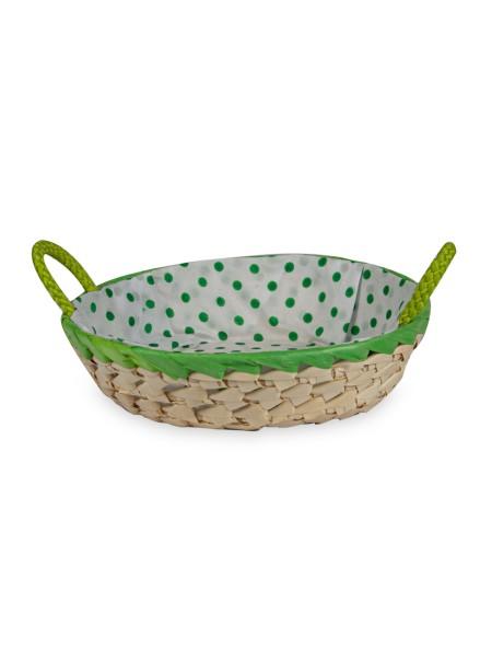 Καλάθι ψάθινο με υφασμάτινη πράσινη πουά επένδυση