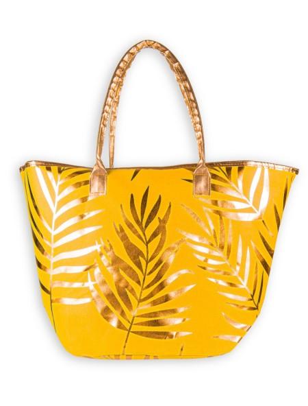 Τσάντα θαλάσσης κίτρινο με χρυσό σχέδιο φλοράλ